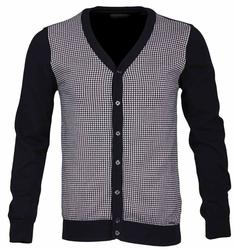 GUIDE LONDON Retro 1960s Mod Dogtooth Cardigan