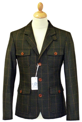 GUIDE LONDON Retro 60s Mod Check Military Blazer