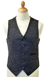 GUIDE LONDON Retro 60s Mod Herringbone Waistcoat