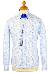 Blue Paisley GUIDE LONDON Mod Double Collar Shirt