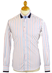 Bold Stripe GUIDE LONDON Retro 60s Mod Smart Shirt