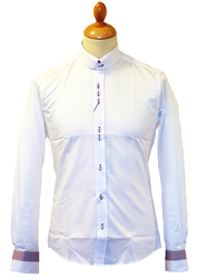 GUIDE LONDON Retro 60s Mod Contrast Trim Shirt (W)