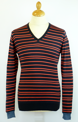 Dario JOHN SMEDLEY Retro Stripe Low V Neck Jumper