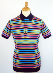 Liam JOHN SMELDEY Retro Multi Stripe Mod Polo Top