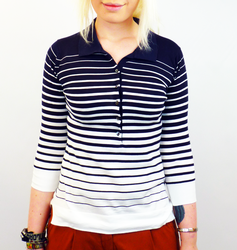 Keyly JOHN SMEDLEY Retro Graduated Stripe Polo Top