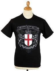 LAMBRETTA Flag Crest Retro Mod T-Shirt (Black)