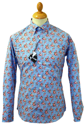 LAMBRETTA Retro 60s Floral Mod Button Down Shirt