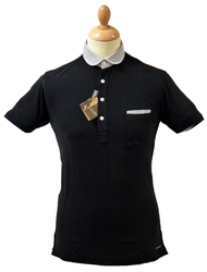 LAMBRETTA Retro Mod Oxford Trim Penny Collar Polo