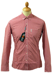 Trojan LAMBRETTA Red Gingham Retro Mod Shirt