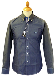 LAMBRETTA Chambray Racing Stripe Retro Mod Shirt
