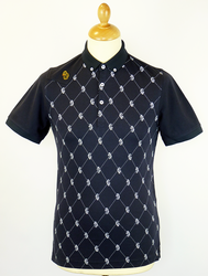 Borris LUKE 1977 Lion Print Mod Argyle Polo Top