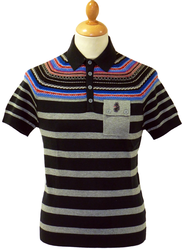 Dempsey LUKE 1977 Retro Fair Isle Breton Polo Top