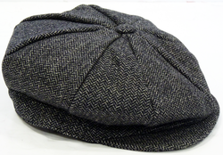Harry LUKE 1977 Retro Mod Herringbone Flat Cap