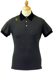 Monkey Rench Retro Mod Polkadot Stripe Polo Shirt