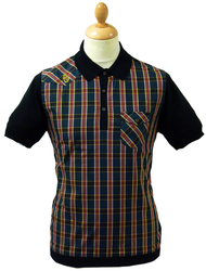 Heston LUKE 1977 60s Mod Check Knit Shirting Polo