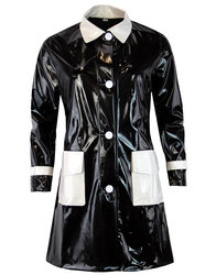 madcap england 60s mod two tone pvc raincoat black