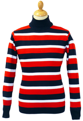 Ashcroft Retro 60s Stripe Mod Roll neck Jumper N