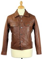 MADCAP ENGLAND RETRO MOD 70S LEATHER JACKET BROWN