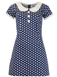 MADCAP ENGLAND MOD RETRO 60S POLKADOT DRESS NAVY