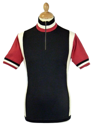 Hi-Wheel MADCAP Retro Mod Cycling Top BLACK/MAROON