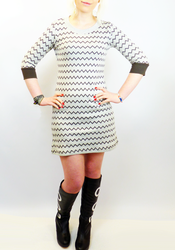 Cynthia MERC Retro 60s Op Art Zig Zag Knit Dress