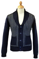 Temple MERC Retro Dogtooth Mod Shawl Neck Cardigan