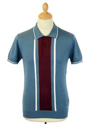 Bedford MERC Retro Mod Stripe Panel Knit Polo (DB)