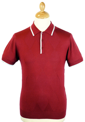Edward MERC W1 Retro 60s Mod Argyle Knit Polo Top