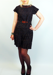 Eleanor MERC Retro 60s Printed Mod Pleat Dress