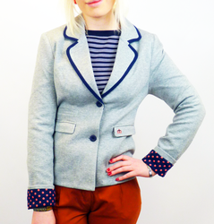 Edith MERC Retro 60s Mod Piped Jersey Blazer