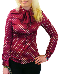 Avril MERC Retro Sixties Polkadot Mod Bow Shirt P