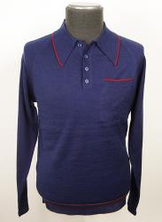 'J60' - Retro Sixties Mod Knitted Polo (Navy)