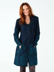 NOMADS Retro 1960s Lotus Floral Fitted Coat TEAL