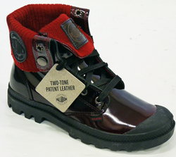 Baggy Leather Knit Patent Red PALLADIUM Boots