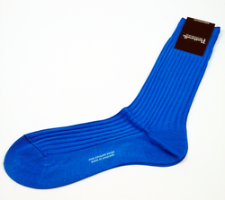 + PANTHERELLA Ribbed Retro Mens Socks Bright Blue