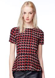 Plover PEPE JEANS Retro Mod Dogtooth Peplum Top
