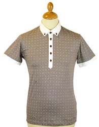 Islay PETER WERTH Retro Stripe Geo Print Mod Polo