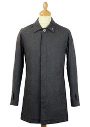 PETER WERTH Twyford 60s Mod Charcoal Flannel Mac
