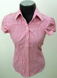 'Ladies Pink Gingham Check Short Sleeve Shirt'