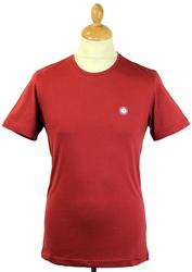 PRETTY GREEN Retro S/S Crew Neck T-Shirt Deep Red