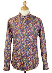 PRETTY GREEN L/S Vintage Paisley Retro Mod Shirt