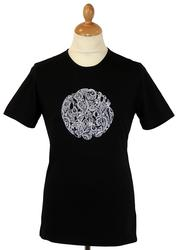 PRETTY GREEN Retro Mod Paisley Linear Logo Tee (B)