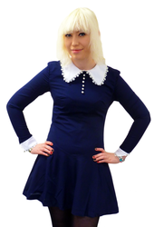 Wednesday Retro 60s Mod Contrast Collar Dress (N)