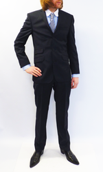 Navy Pin Dot Retro 60s Mod 3 Button Slim Fit Suit