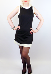 Dusty Retro Mod Sixties Mini Dress (Black)
