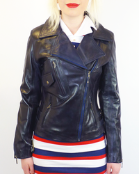 Rebecca - Retro 70s Indie Leather Biker Jacket (N)