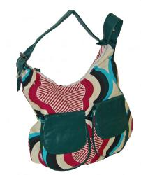 'Sixties Slouch Bag' (Blue/Red Pattern)