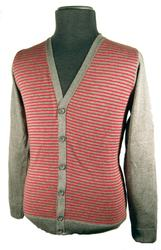 'Stripe Cardigan' - Retro Mod Mens Cardigan (G/R)