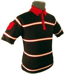 'Morgan' - Mens Retro Indie Striped Polo (Black)