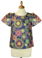 Bonnie Floral TRAFFIC PEOPLE Retro 1970s Top BLUE